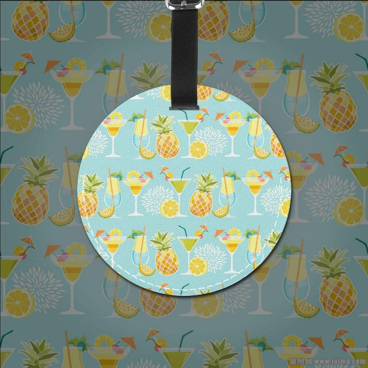 RITGOWWV PU Leather Luggage Tags 3D Print Summer Pineapples Suitcase Labels Bag Travel Accessories