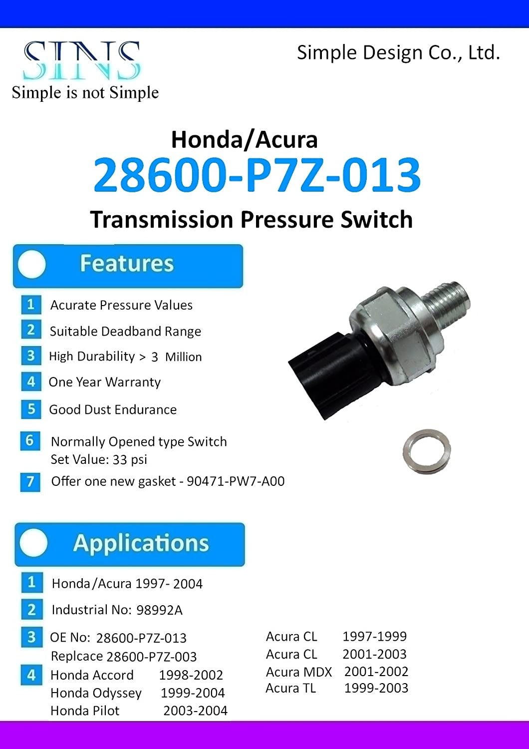 Amazon.com: Honda Accord Odyssey Pilot Acura CL TL MDX Transmission Pressure  Switch 28600-P7Z-003 28600-P7Z-013: Automotive