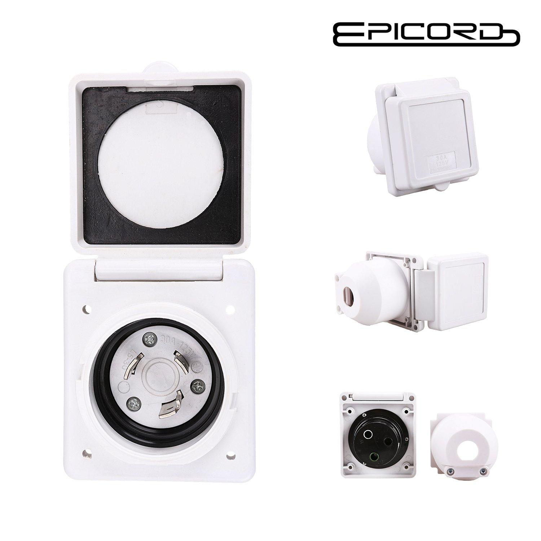 Epicord EXRV060 30 Amp 125v Power Cord Twist Electrical Lock Boat RV Marine Inlet (White)