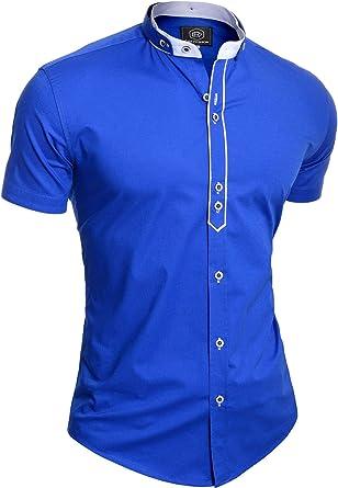 Hombre Camisa de Manga Corta Casual Elegante Elástico Collar Nao Algodón Slim: Amazon.es: Ropa y accesorios