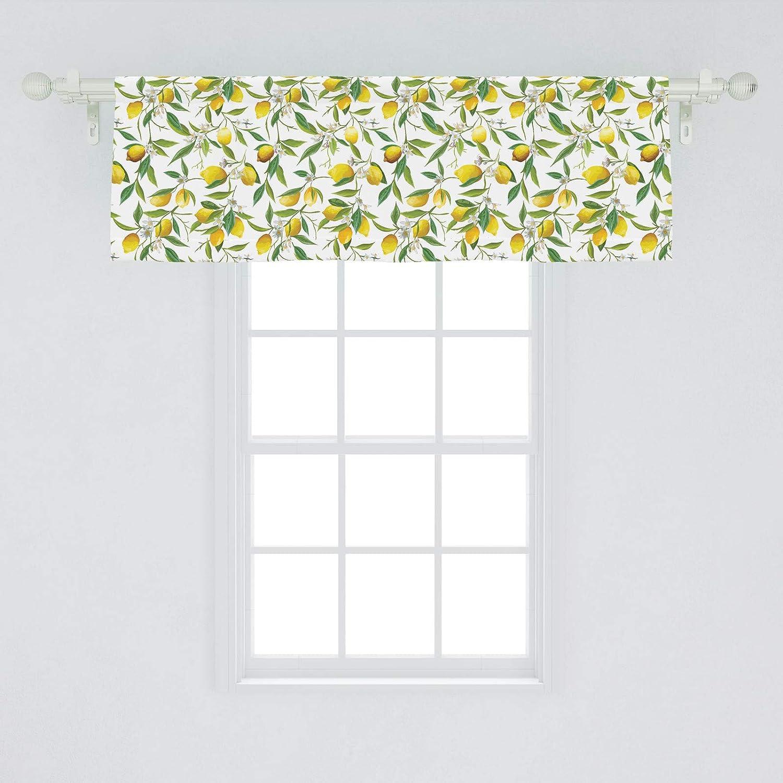 "Ambesonne Nature Window Valance, Flowering Lemon Woody Plant Romance Habitat Citrus Fresh Background, Curtain Valance for Kitchen Bedroom Decor with Rod Pocket, 54"" X 18"", Fern Green"