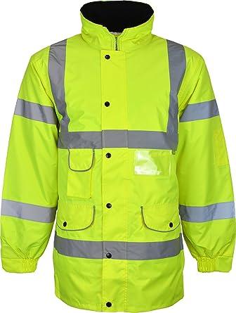 63707bc35511e Kentex Online Mens High Visibility Jacket Hi Vis Long Jacket Padded Winter  Warm Jackets Concealed Hood  Amazon.co.uk  Clothing