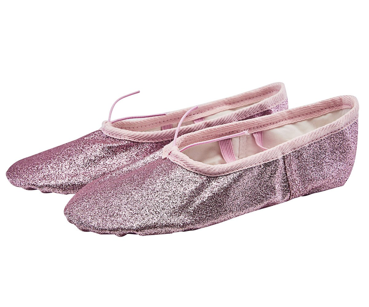 missfiona Girls Sparkly Glitter Stage Ballet Belly Slippers Ballroom Dance Shoes(11, Pink)