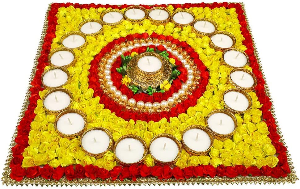 Christmas Decorations Artificial Flower Rangoli with T Light Holders & Handicraft Stone Decorations, Decorative Diyas for Diwali, 21 Candle Set