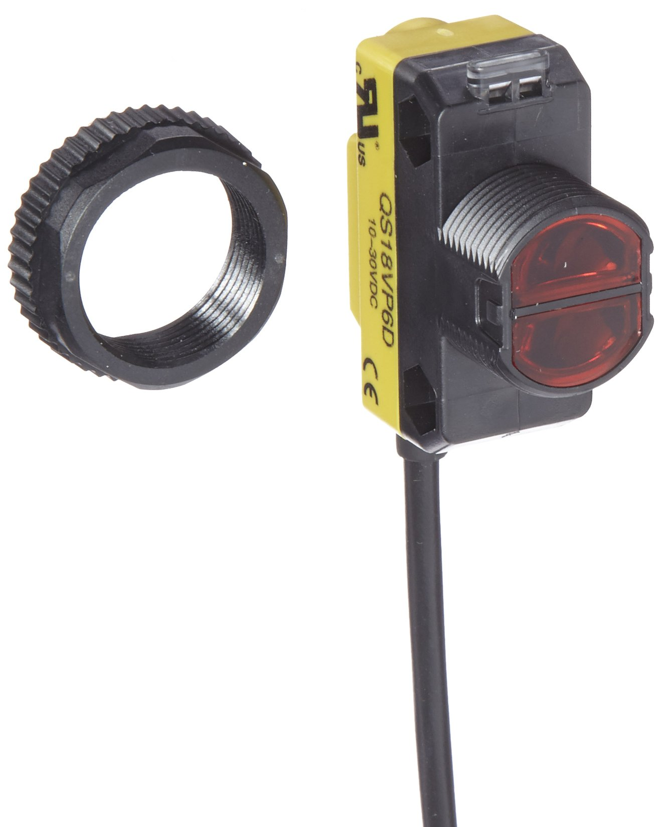 Banner QS18VP6D World Beam Universal Compact Sensor, Opposed Mode Emitter and Receiver, Infrared LED, Diffuse Mode, PNP Output Type, 450mm Range, 4 Wires, 2m Cable Length