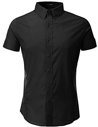 FLATSEVEN Mens Slim Fit Basic Dress Shirts Short Sleeve at Amazon ...