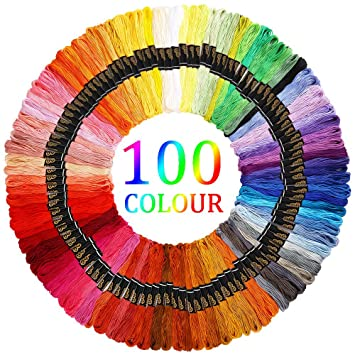 c4ff9db166b3a Amazon.com: 100 Skeins Per Pack Embroidery Floss Rainbow Color ...