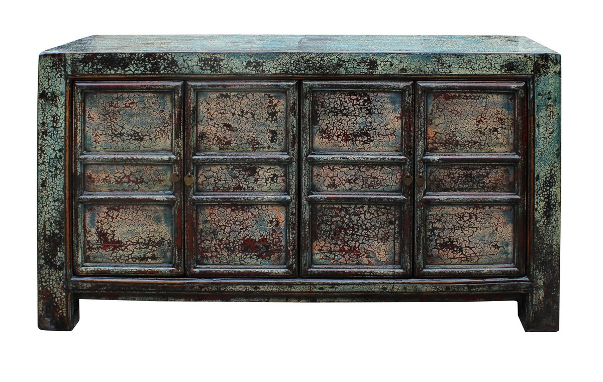 Chinese Distressed Greenish Blue Sideboard Console Table Cabinet cs2333