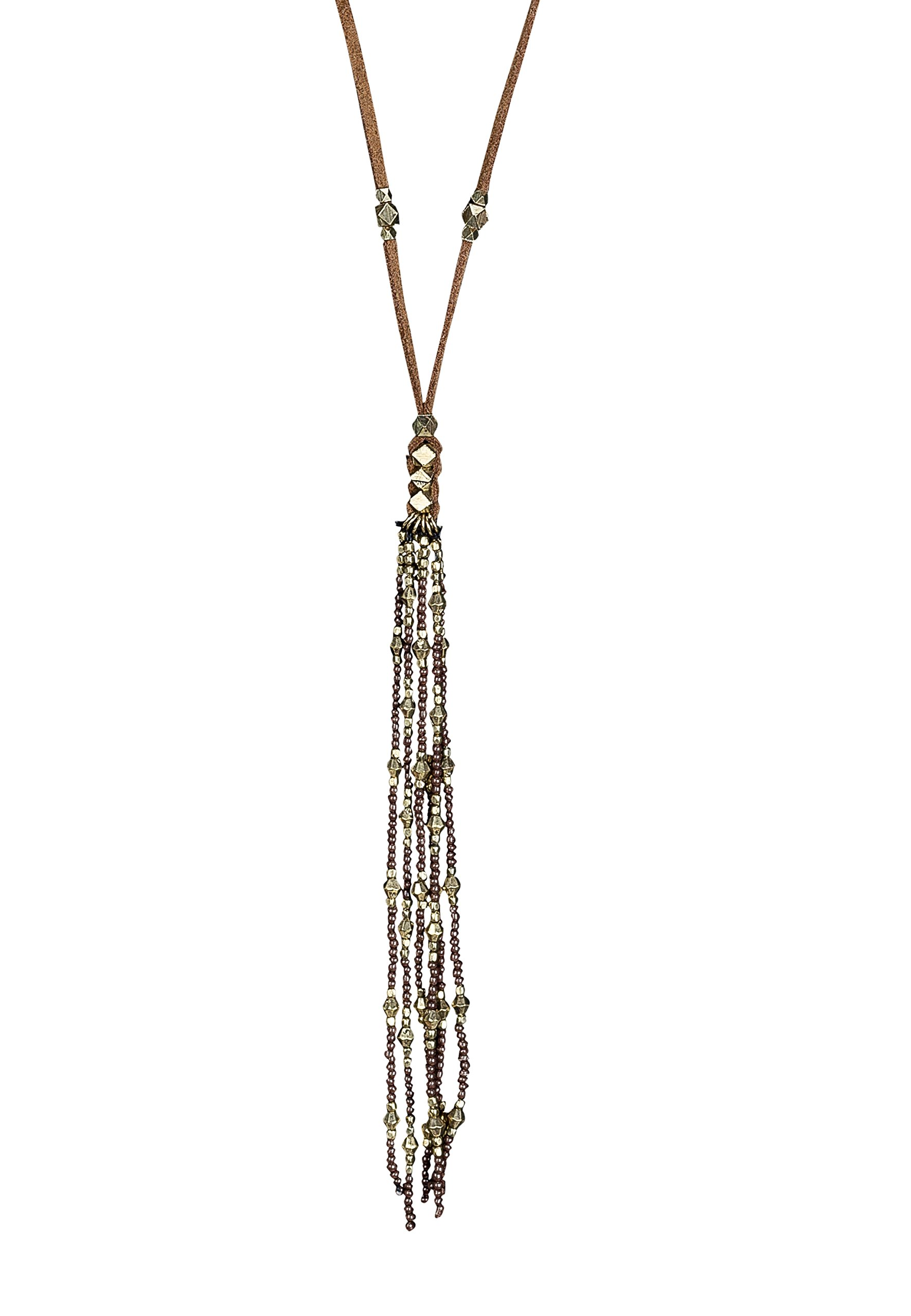 SPUNKYsoul New! Leather Tassel Necklace in Brown, Black, Gold & Silver Collection (Brown & Gold)