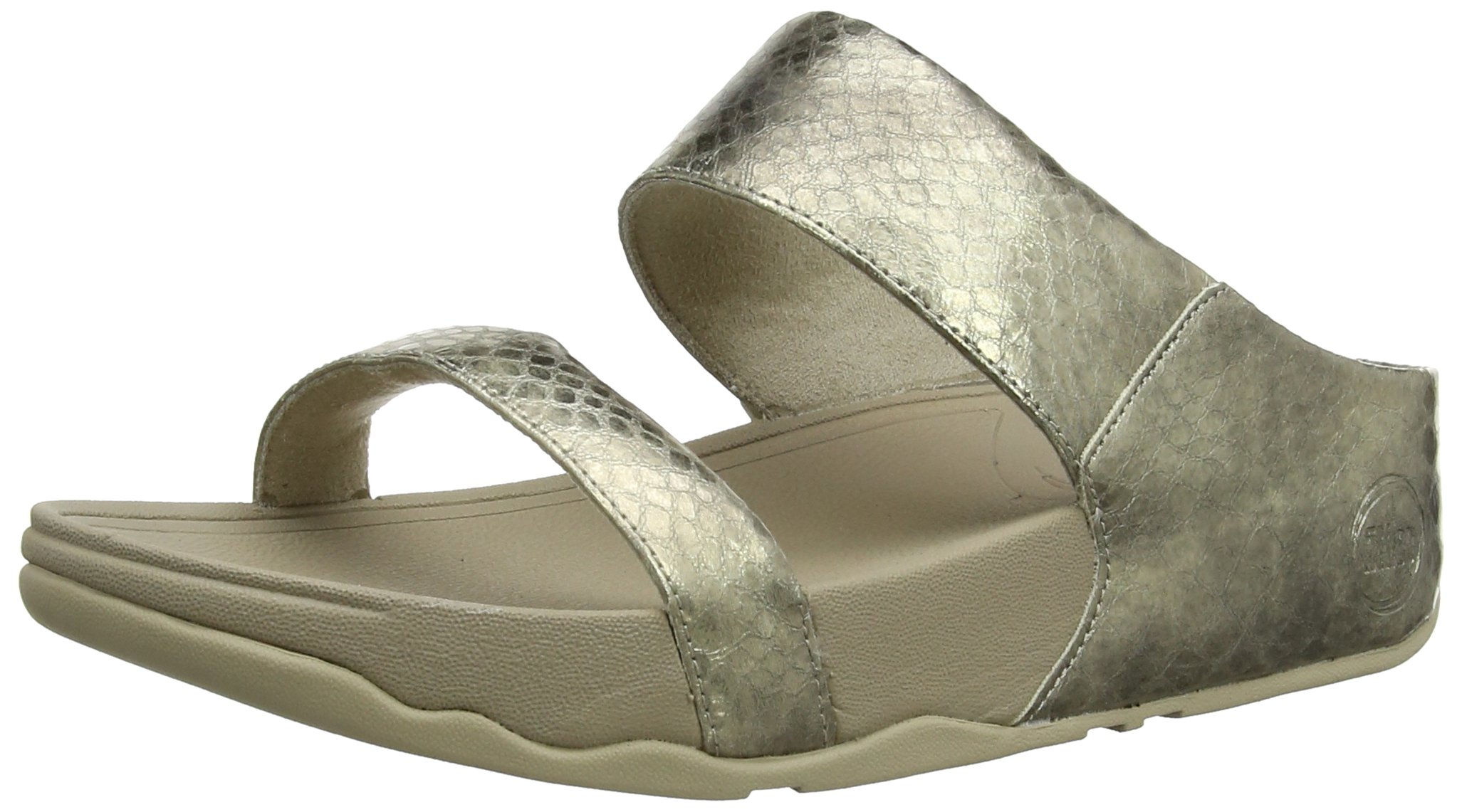 FitFlop Women's Lulu Metallic Snake Slide Dress Sandal, Pale Gold, 9 M US
