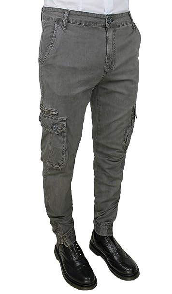 c27bd9dc47 Pantaloni jeans uomo grigio verde cargo slim fit casual con tasconi ...