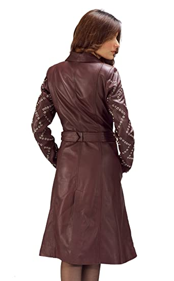 c5f0f71cc8e Maroon Studded Leather Trench Coat at Amazon Women's Coats Shop