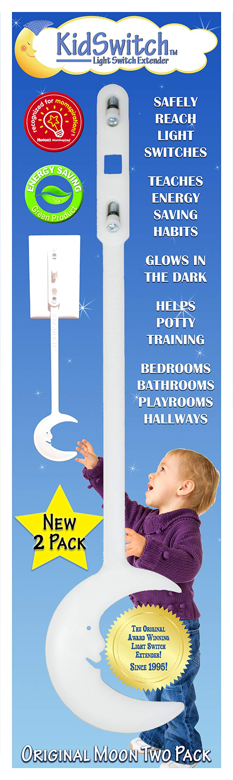 KidSwitch Award-Winning Light Switch Extender for Children & Toddlers - Original Style 2 Pack