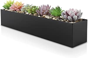 "Modern Black Trough Rectangular Planter | 16"" Metal Window Planter Box for Succulent 