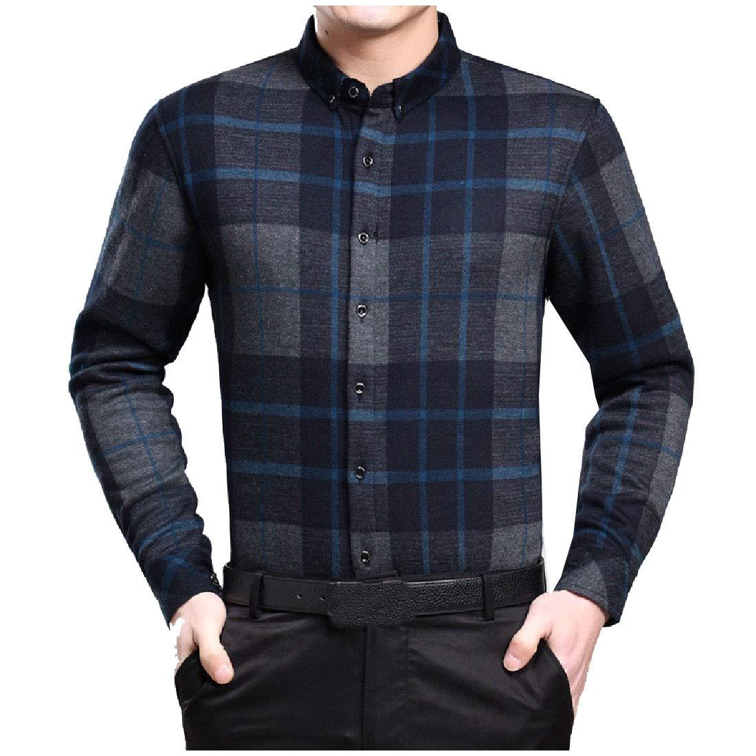 YUNY Mens Warm Long Sleeve Stripes Mandarin Collar Casual T-Shirts Shirts AS2 XS