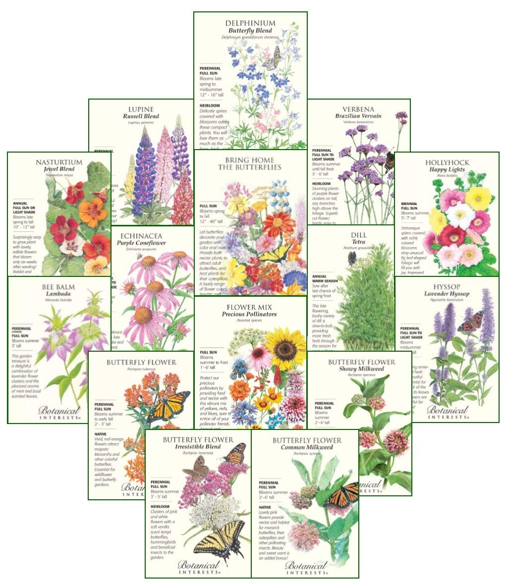 Botanical Interests''Butterfly Garden and Monarch Way Station'' Flower Seed Collection - 15 Packets with Gift Box. $1 Goes to Save Our Monarchs Foundation!