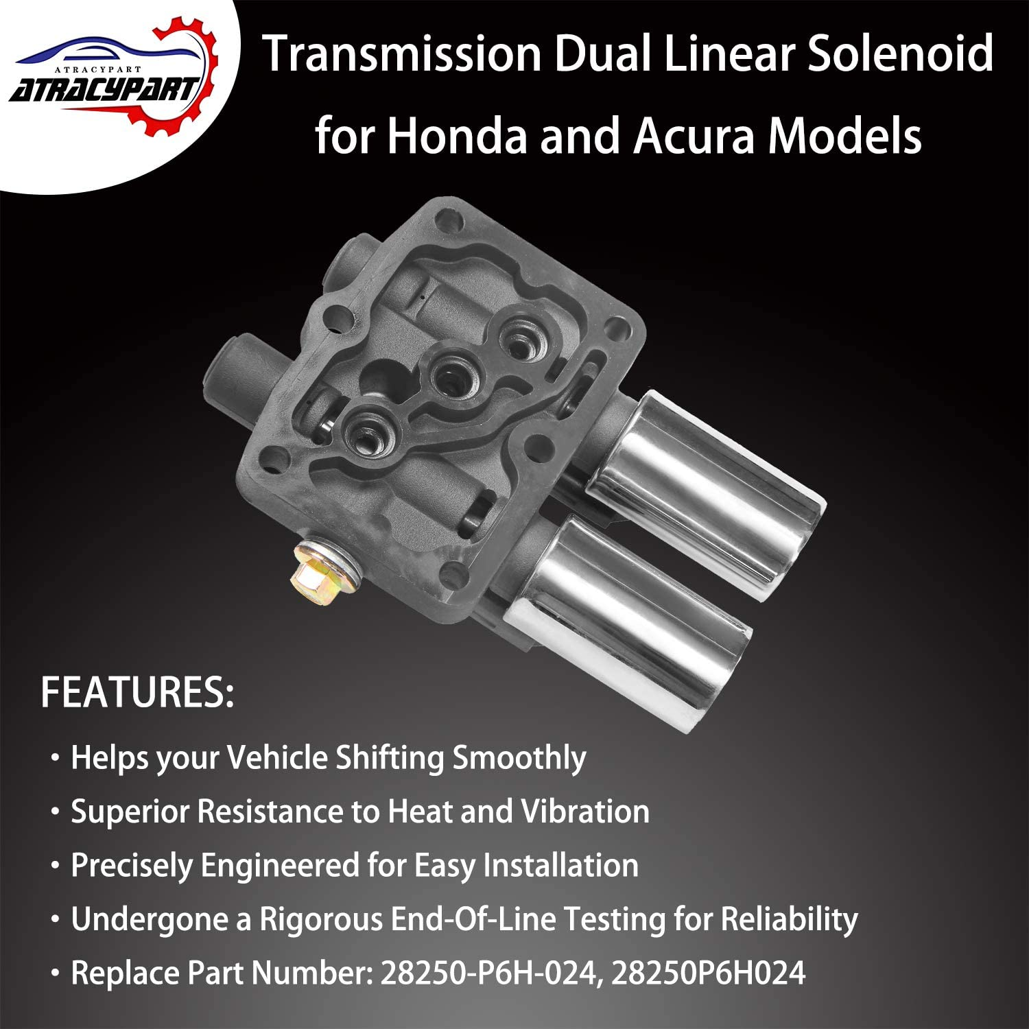 Transmission Dual Linear Solenoid with 1PCS Gasket and 3PCS O-Rings Compatible with Honda Accord Odyssey Pilot Prelude Acura CL TL MDX Replace Part Number 28250-P6H-024 Model A
