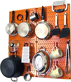 product image for Wall Control Kitchen Pegboard Organizer Pots and Pans Pegboard Pack Storage and Organization Kit with Orange Pegboard and Red Accessories