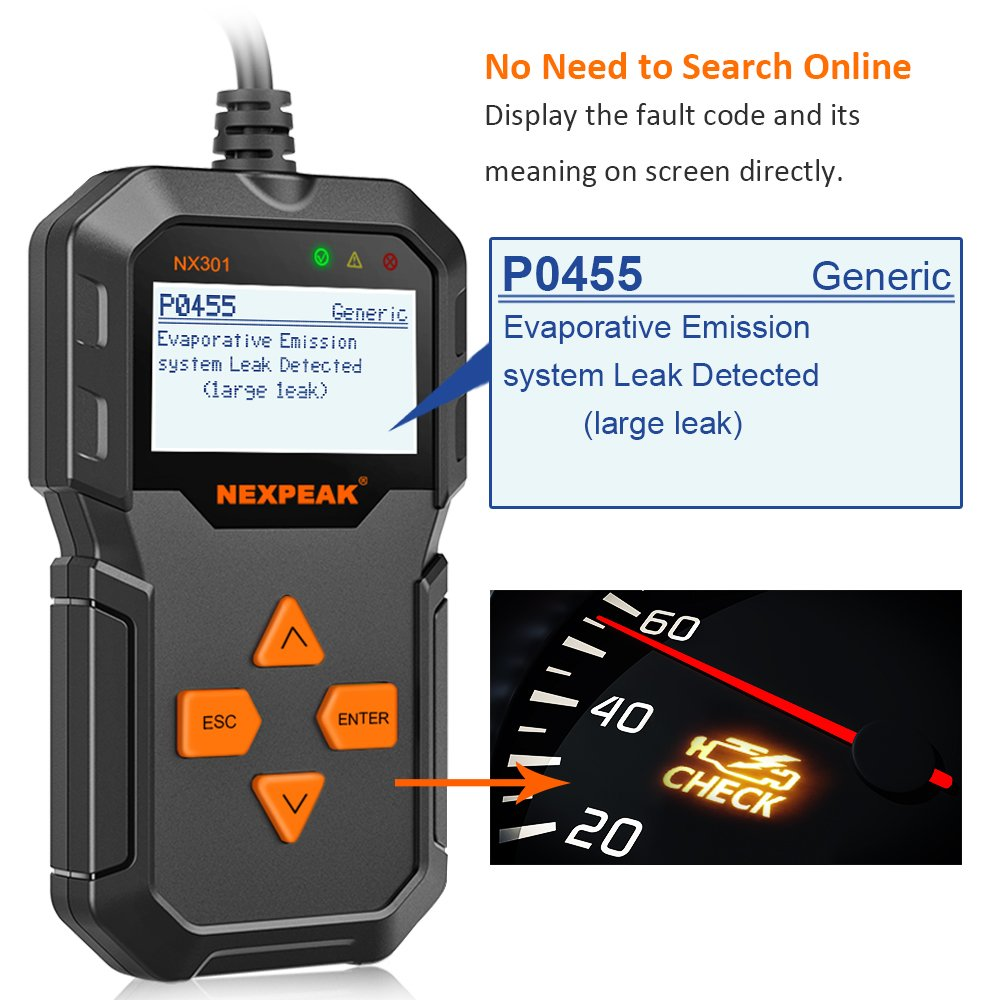 NEXPEAK OBD2 Reader NX301 Universal OBDII Car Diagnostic Scanner Tool for Car Engine OBD2//EOBD Diagnostic Scanner Automotive Engine Fault Code Reader CAN Scan Tool