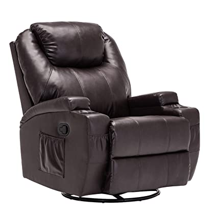 Mecor Massage Recliner Chair Bonded Leather Ergonomic Heated Lounge Sofa  Swivel With Control And Cup Holder