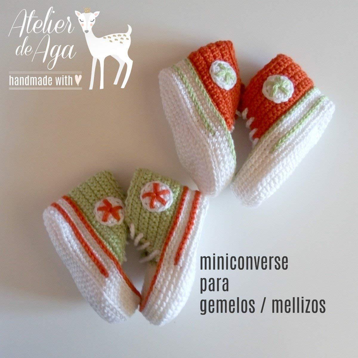 ENVIO GRATIS MINICONVERSE X 2 para MELLIZOS/GEMELOS Patucos sneakers para bebé hechos a mano 100% algodón talla 0-3 meses PISTACHO/NARANJA