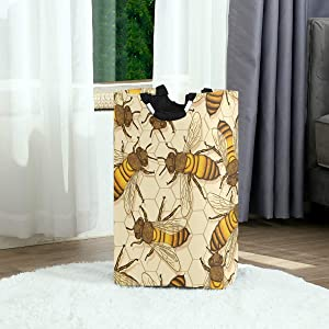 Honey Bees Honeycomb Large Laundry Baskets Washing Hamper Bag Dirty Clothes Storage Bin Toy Book Clothing Holder with Handles for Home Bathroom Bedroom 50L