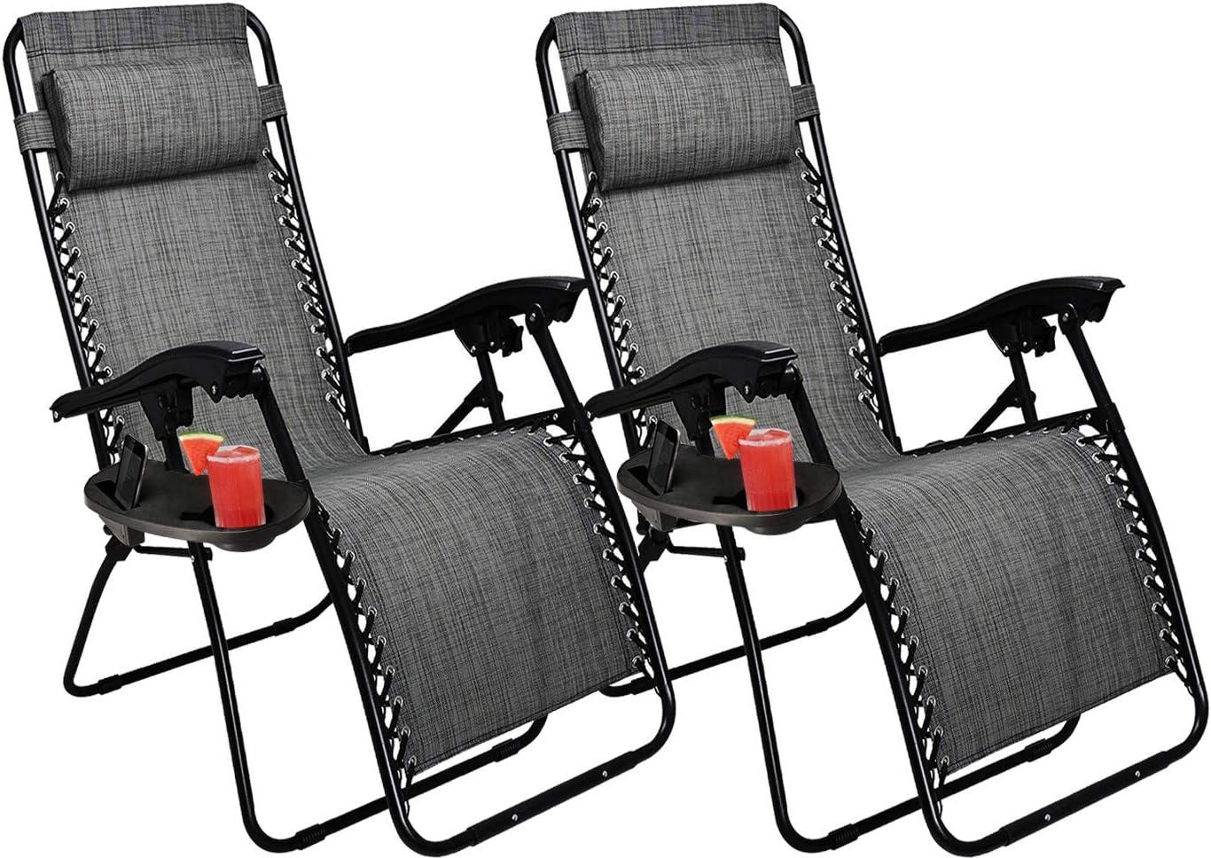 Lounger Deck Chairs Garden Outdoor Patio Sun Loungers KEPLIN Set of 2 Heavy Duty Textoline Zero Gravity Chairs Folding Reclining Chairs GREEN