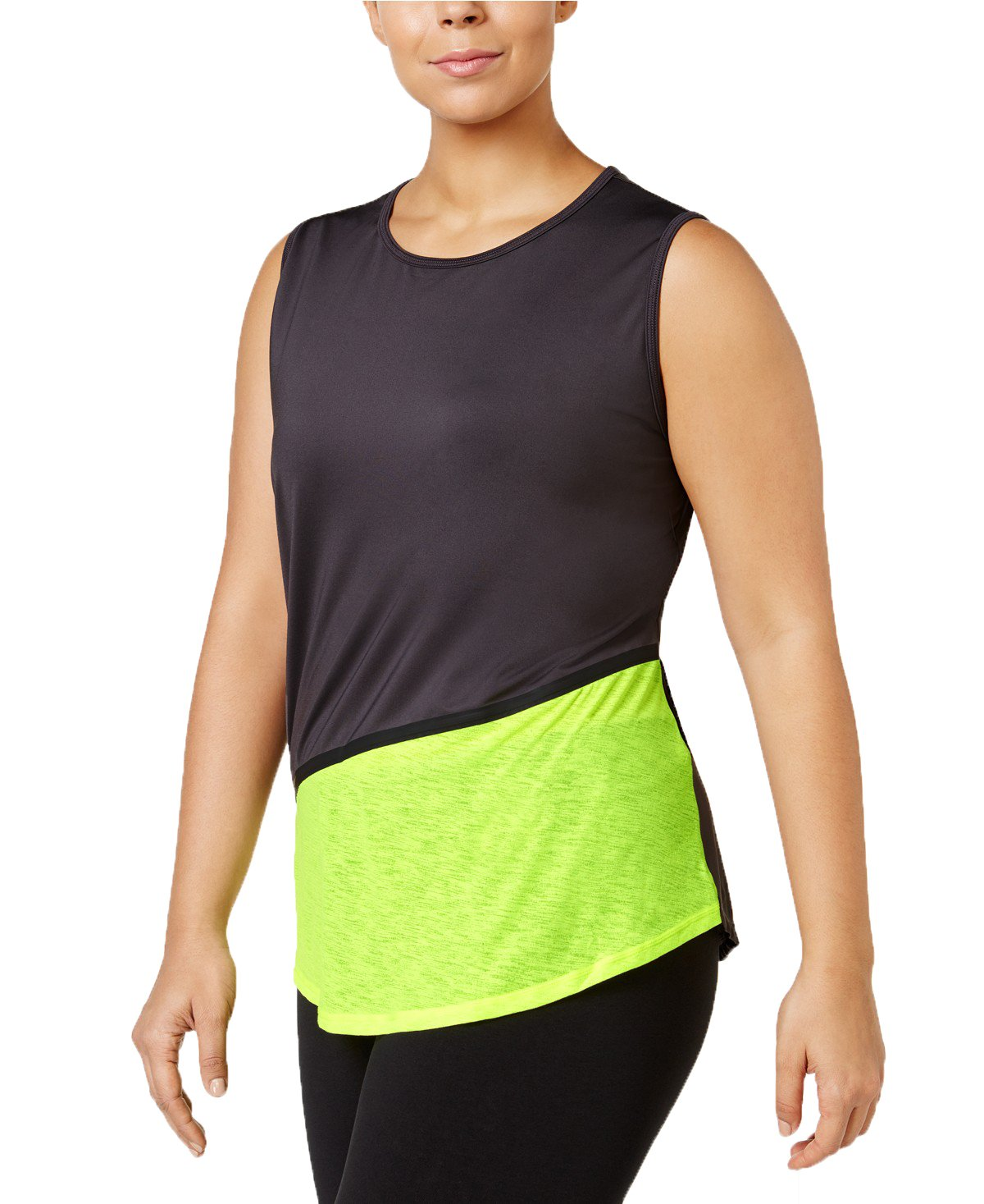 Ideology Plus Size Colorblocked Tank Top in Deep Charcoal (3X)