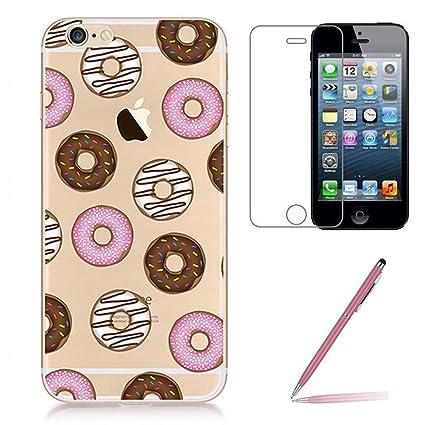 iPhone se/5/5s Carcasa rígida con protector de pantalla de cristal [3 en 1], yoowei Ultra Fina Transparente silicona TPU funda Carcasa Case con piña, ...
