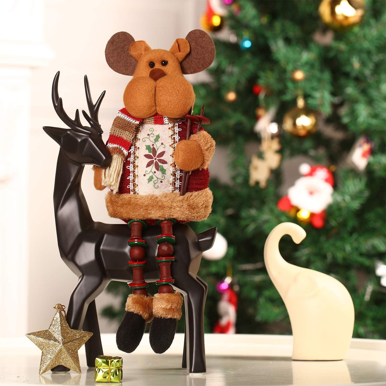Adornos de Navidad Sentado Adornos Navide/ños de Mesa Chimenea Decoraci/ón de Hogar Figuras de Navidad 32 x 13 cm, Alce
