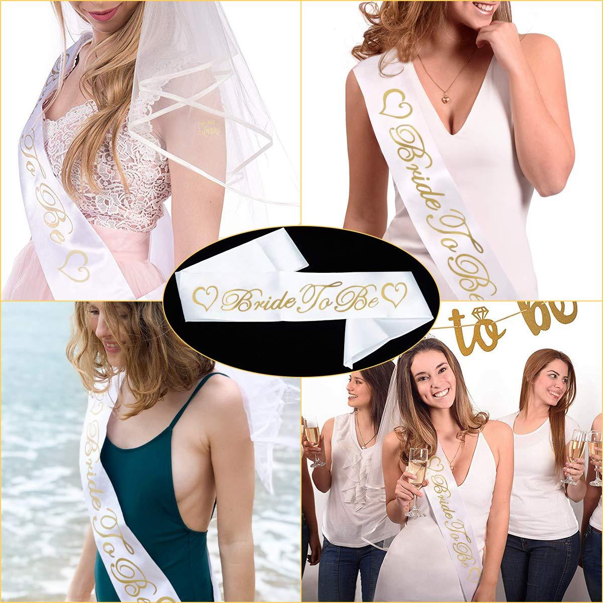 6 Piezas Bride to Be Accesorio Set Kit Tatuajes temporales de Despedida de soltera Insignia de roseta Velo Blanco de Novia de Boda con Peine faja latina liga y gafas de sol