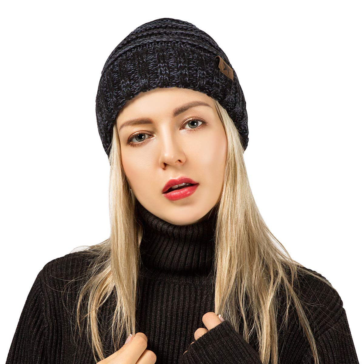 ADUO Unisex Warm Oversized Soft Beanie Cap Winter Cable Knit Thick Slouchy Beanie Skully Hats for Women Men (Black)