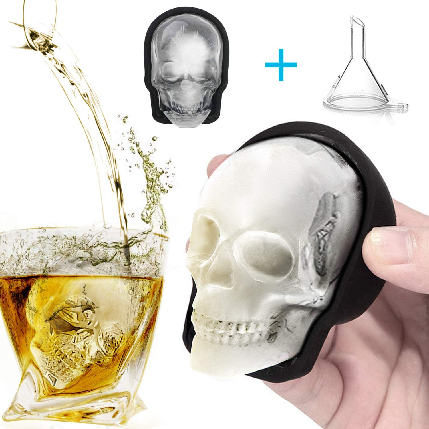 Kitchen Whiskey Ice Cube Tray Pudding Mold 3D Skull Silicone Ice Mold Halloween