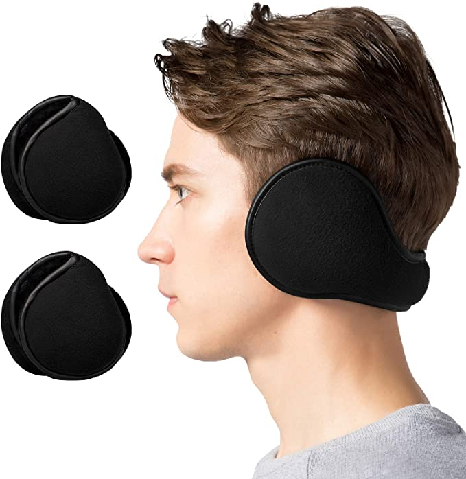 Lauzq Winter Ear Muffs for Men - Foldable Fleece Ear Warmers