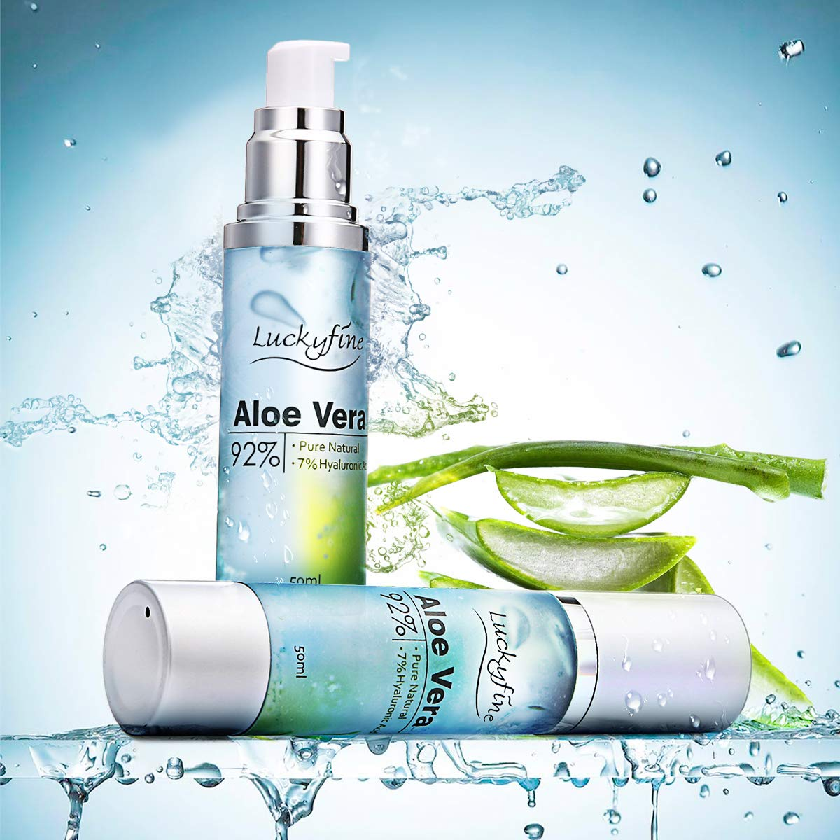 Luckyfine Aloe Vera Essence for Face, Natural 92% Aloe Vera & 7% Hyaluronic Acid, Soothing & Moisture for Acne, Sunburn, Itchy, Dry Skin, Facial Moisturizing, Face Whitening by Luckyfine