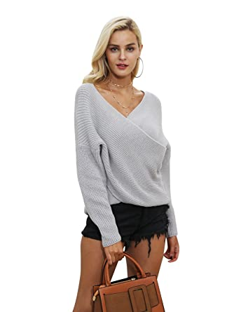 82236d2030 Simplee Apparel Women s V Neck Cross Wrap Jumper Knitted Ribbed Front Sweater  Top Gray UK 6