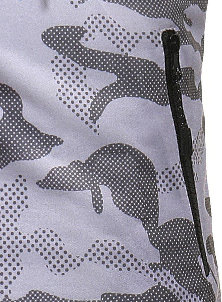 Pottseth Hooded Vest for Men Sweatshirt Camouflage Print Sleeveless Tank Tops Baseball Shirts Fitness T-Shirt