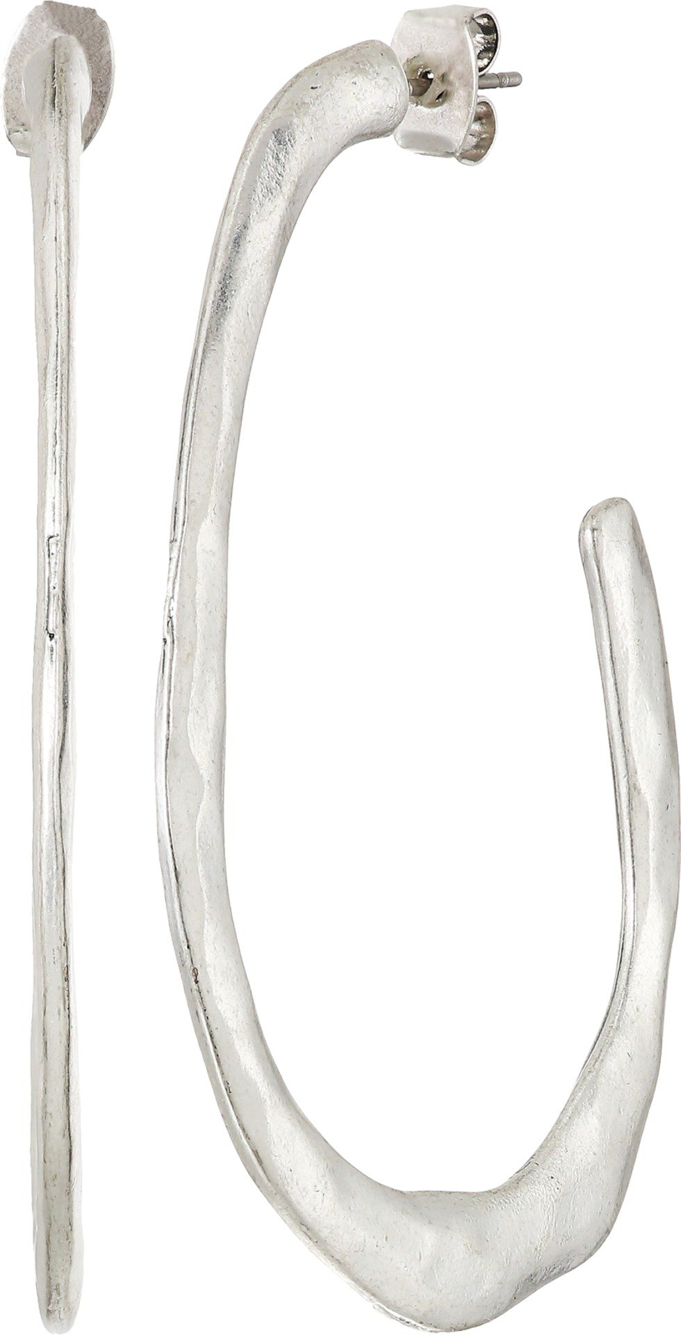 Lucky Brand Womens Organic Silver Hoop Earrings, One Size