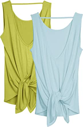 icyzone Workout Tank Tops for Women - Open Back Strappy Athletic Tanks, Yoga Tops, Exercise Gym Shirts(Pack of 2)