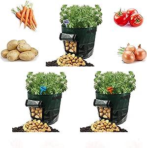 Potato Grow Bags 7 Gallon Garden Vegetables Planter Bags Outdoor Indoor planters Flap for Planting Potato Carrot Onion Taro Radish Peanut