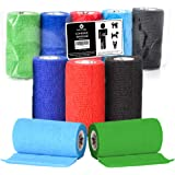 Vet Wrap Cohesive Bandage - 10cm X 4.5m Self Adhesive Bandages. 5 Rolls in 5 Colours. Perfect Self Adherent Vet Wrap for Dogs or Vet Wrap for Horses. Self Adhesive Compression Bandages.