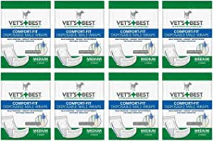 Veterinarian's Best Comfort-fit 8 packs of 12 wraps (96 total wraps) Disposable Male Wrap,Medium