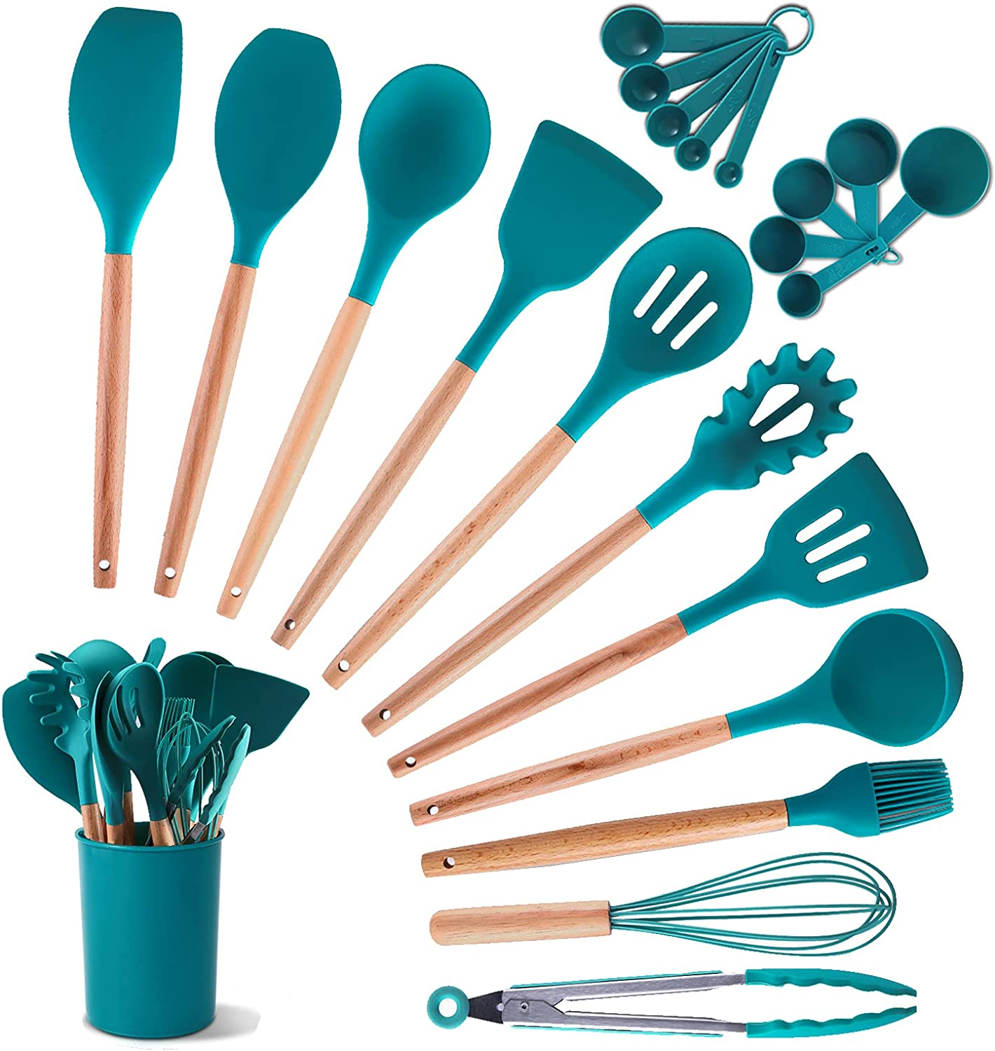 Amazon Com Coplib Silicone Cooking Utensils Set 22pcs Kitchen Utensil With Holder Non Stick Cookware Heat Resistant Gadgets Gift Blue Dining