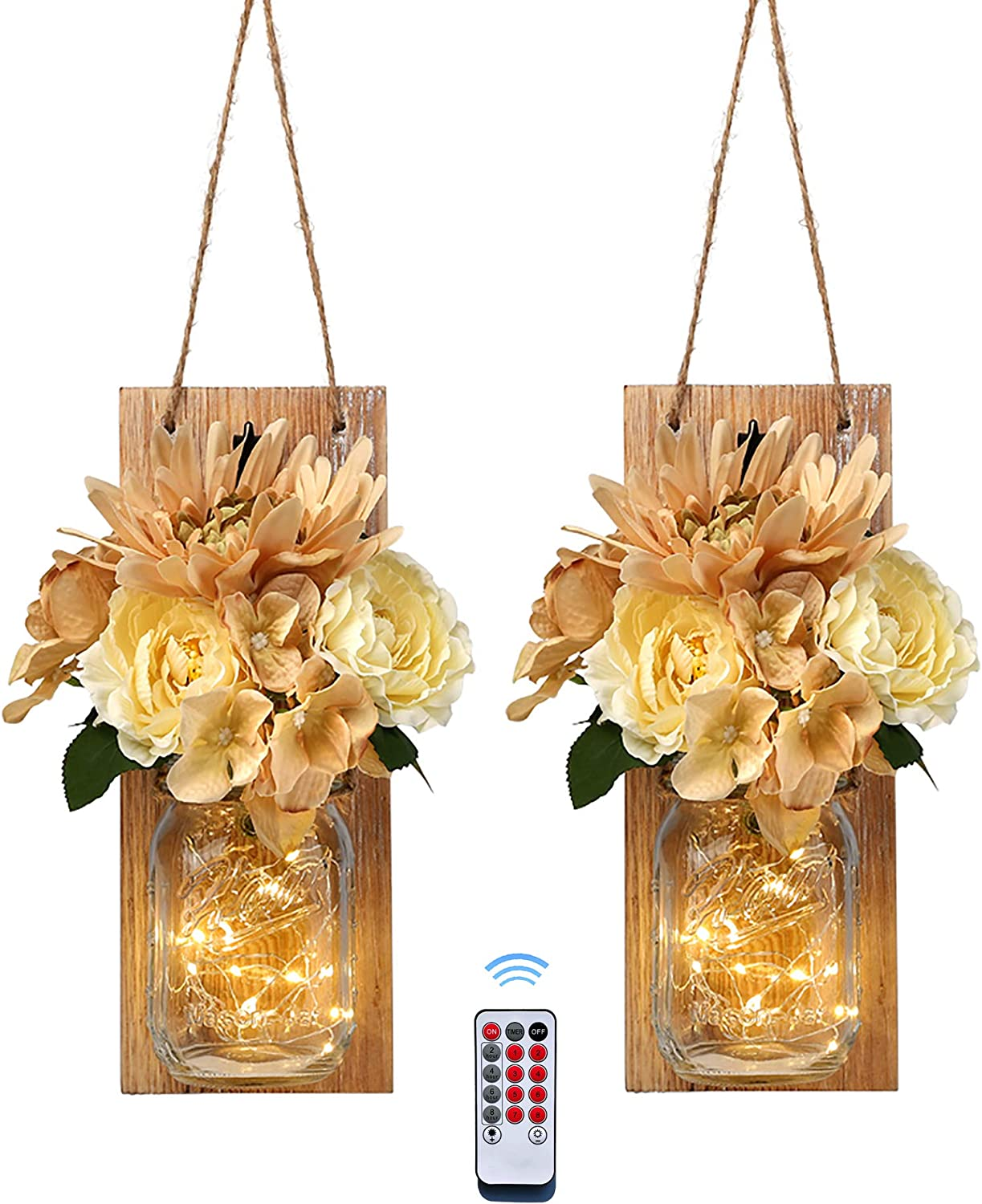 Besuerte Mason Jar Sconce Wall Art Home Decor -Farmhouse Sconces Wall Lighting with Wireless Remote for Living Room,Dining Room,Battery Operated LED Fairy Lights,Set of 2(Medium, Brown)