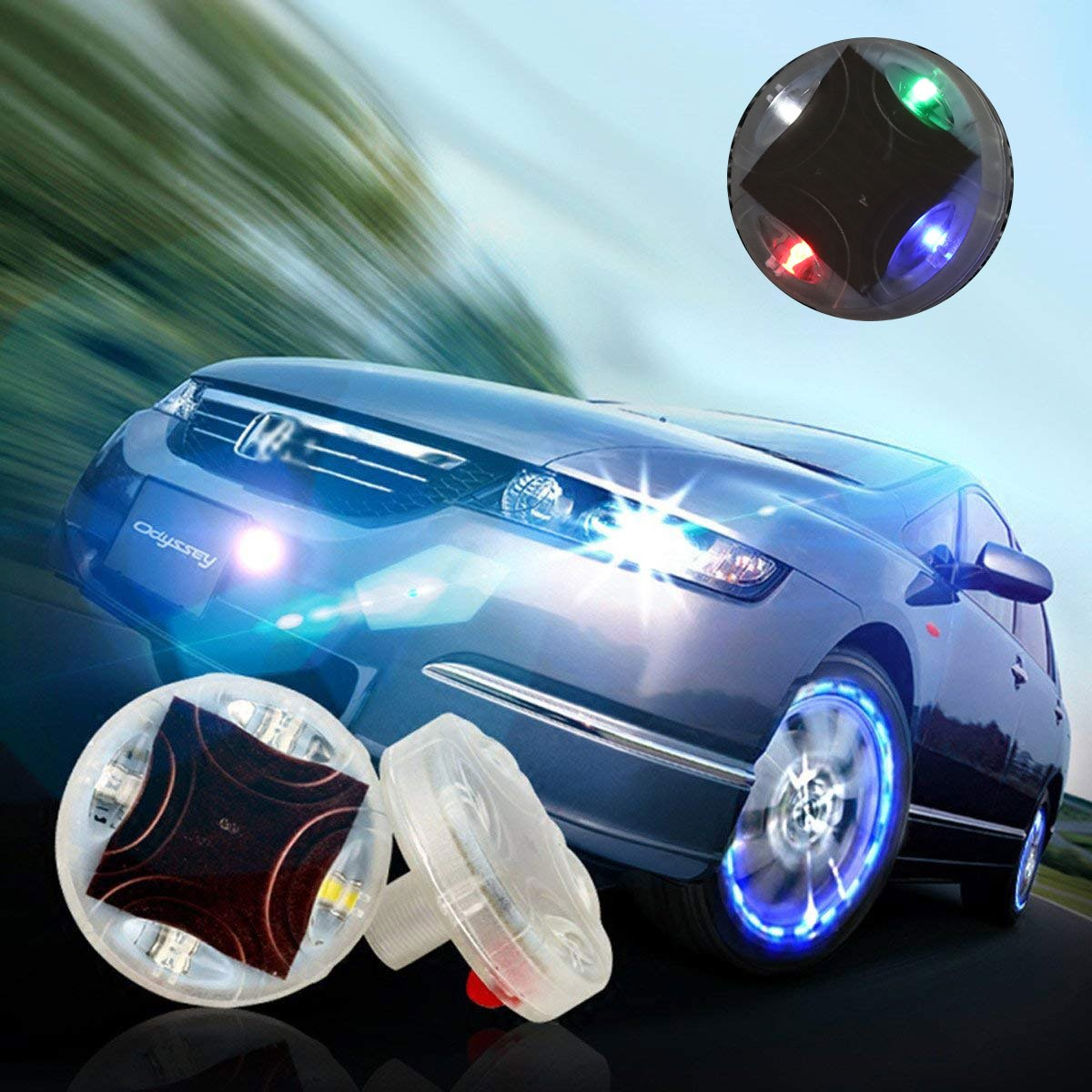 CHICTRY Set of 4 Car Tire Lights Solar Energy Wheel Hub Air Valve Cap Light Lamp Waterproof Decorative Colorful LED Light with 15 Flashing Modes for Auto Motorcycles Bicycles