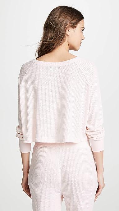 d757fbfd3a4c Honeydew Intimates Women's Sneak Peek Waffle Knit Crop Sweatshirt at Amazon  Women's Clothing store: