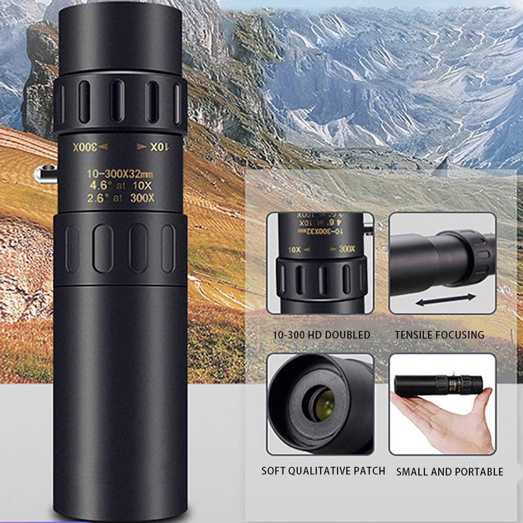 Night Vision 10-300X40mm Super Telephoto Zoom Waterproof Fogproof Monocular Telescope with Smartphone Holder /& Tripod 4K Titanium Alloy Shell Telescope 10-300X25mm Kit, Black