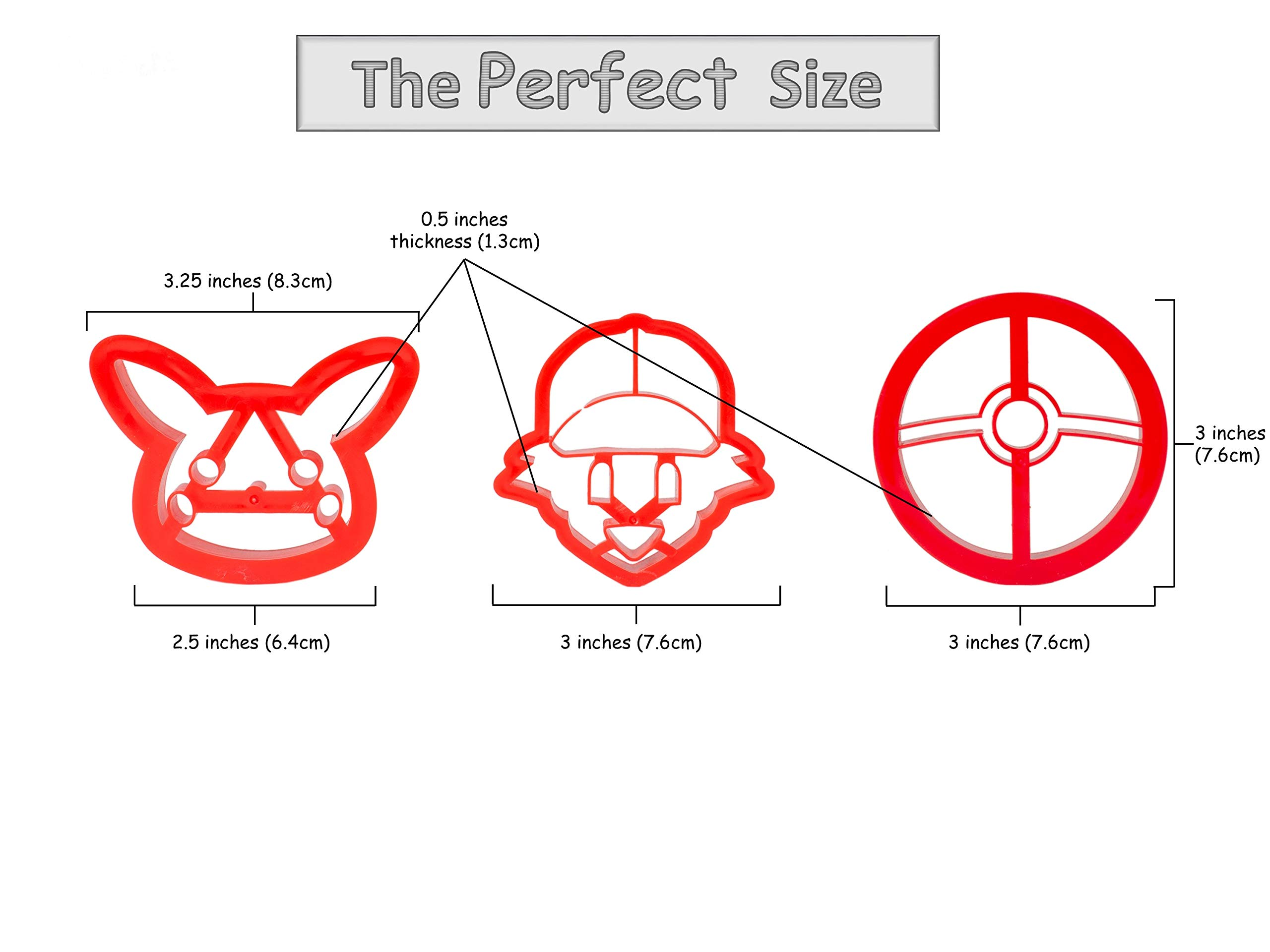 3-Pack Pokemon Cookie Cutters | Pokeball, Ash, Pikachu | Special Edition by cookiemoji baking co. (Image #3)