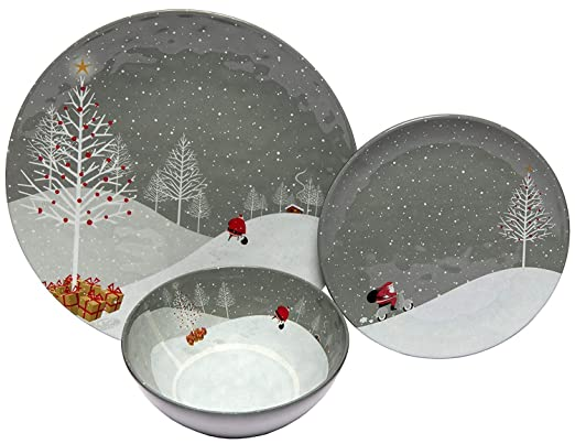 Melange 18-Piece Melamine Dinnerware Set (Santa Comes Home) | Shatter-Proof and Chip-Resistant Melamine Plates and Bowls | | Dinner Plate, Salad Plate & Soup Bowl (6 Each) best christmas plate sets