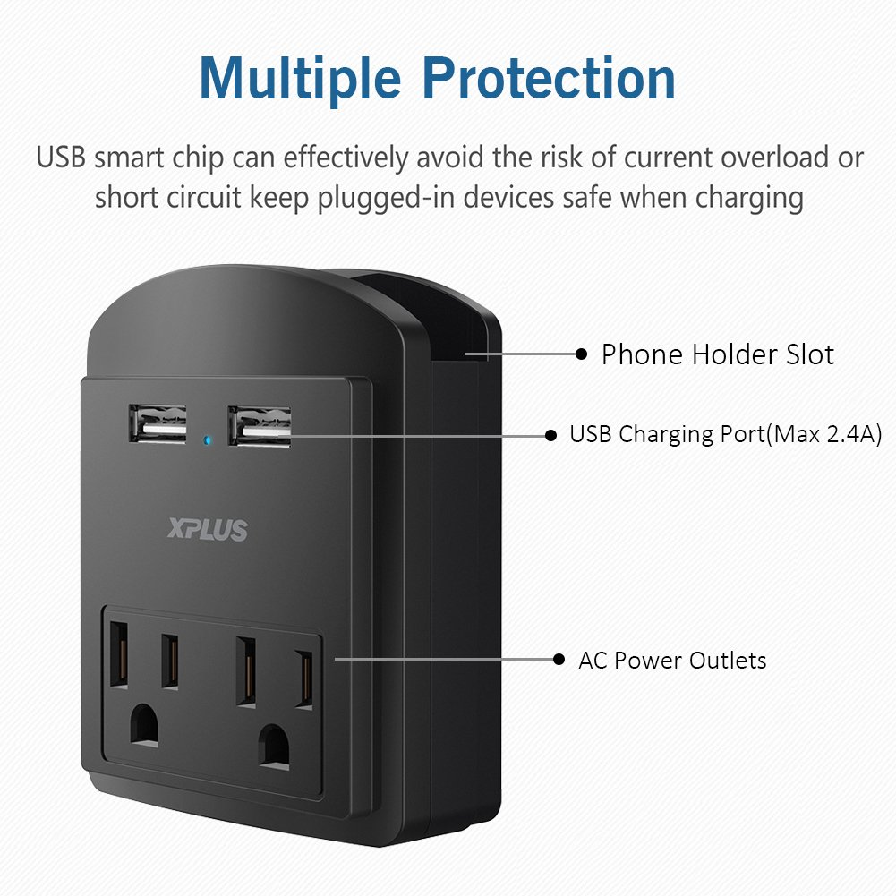 Wall Mount Charger,XPLUS 2 USB Charging Ports (2.4A) & 2 AC Outlet Plugs, Surge-protected Power Socket Extender with Topside Phone Holders for iPhone, iPad and Others, ETL Certified (Black)